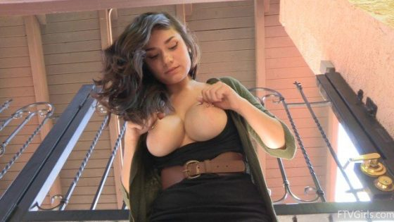 sexy girl with sexy boobs pierced in public