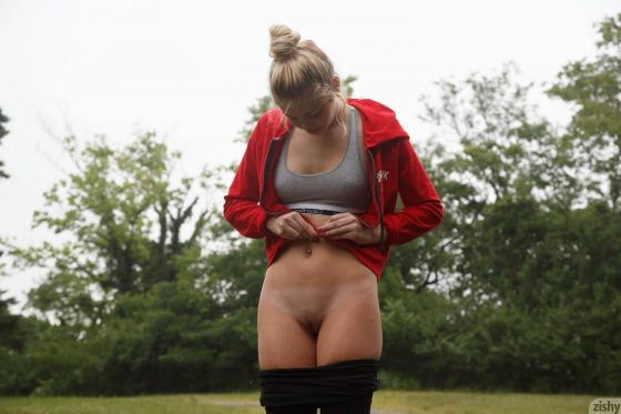 sexy girl Gia Strachen flashing pussy outdoors