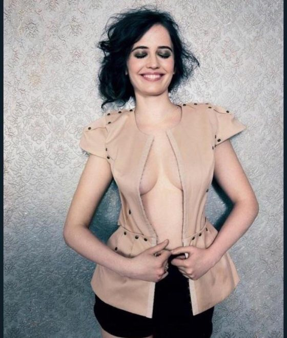 hot actress Eva Green braless shirt