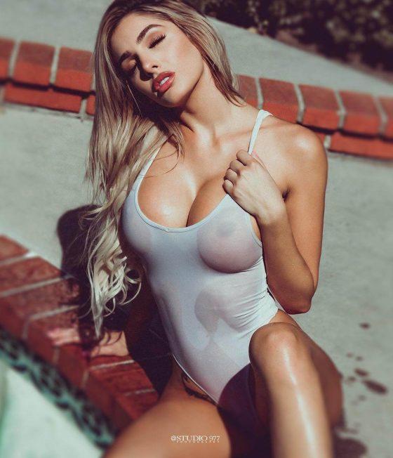 Lyna Perez-wet sheer swimsuit