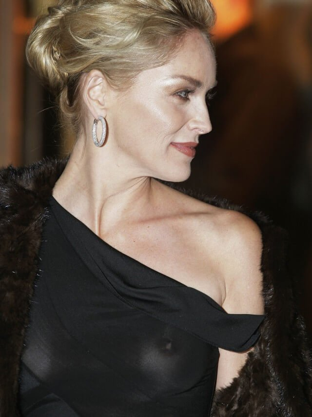 Sharon Stone braless see-through top