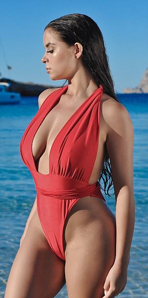 Demi-Rose boobs sexy swimsuit