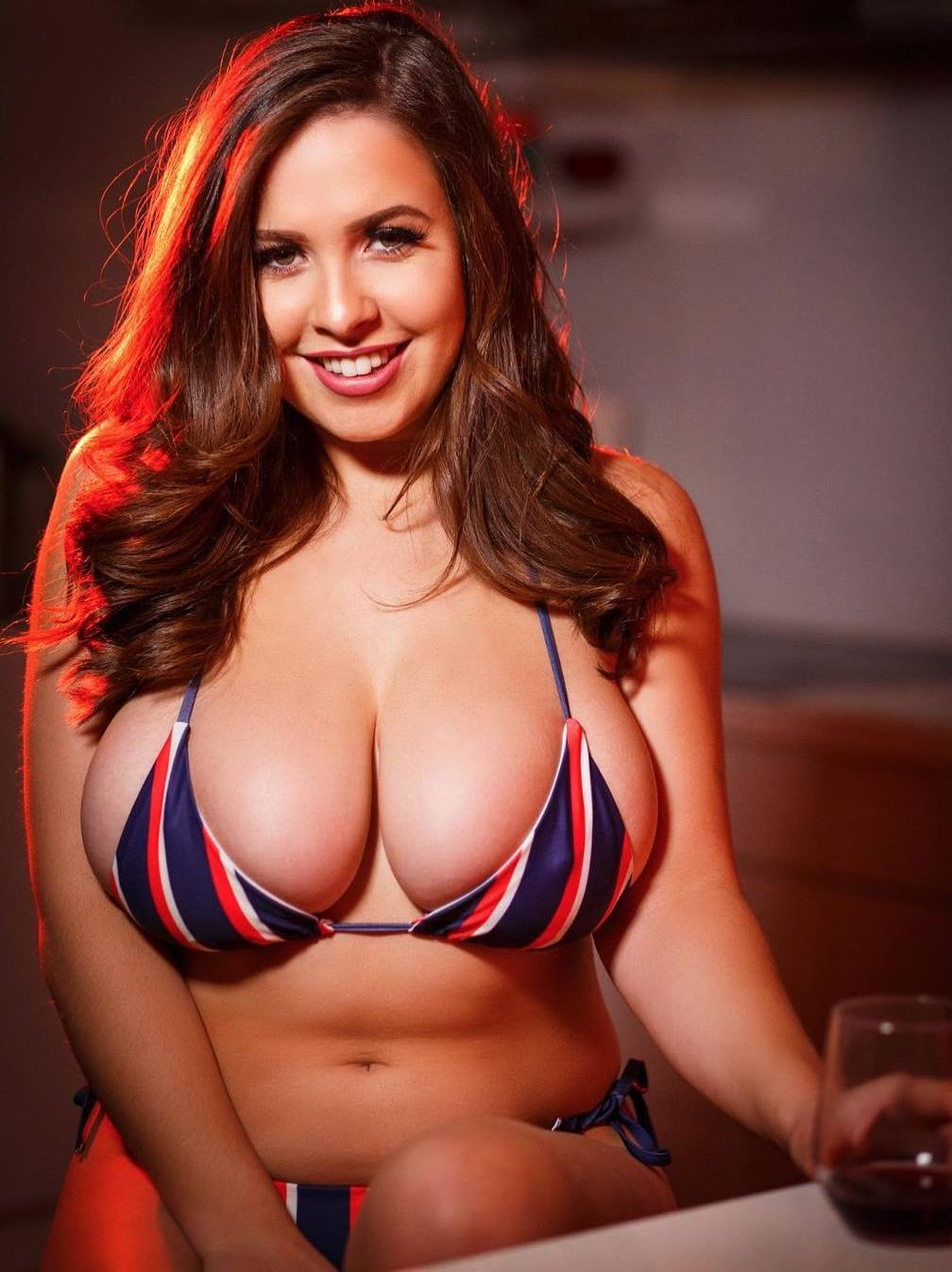 Ruby May boobs in tiny bikini top