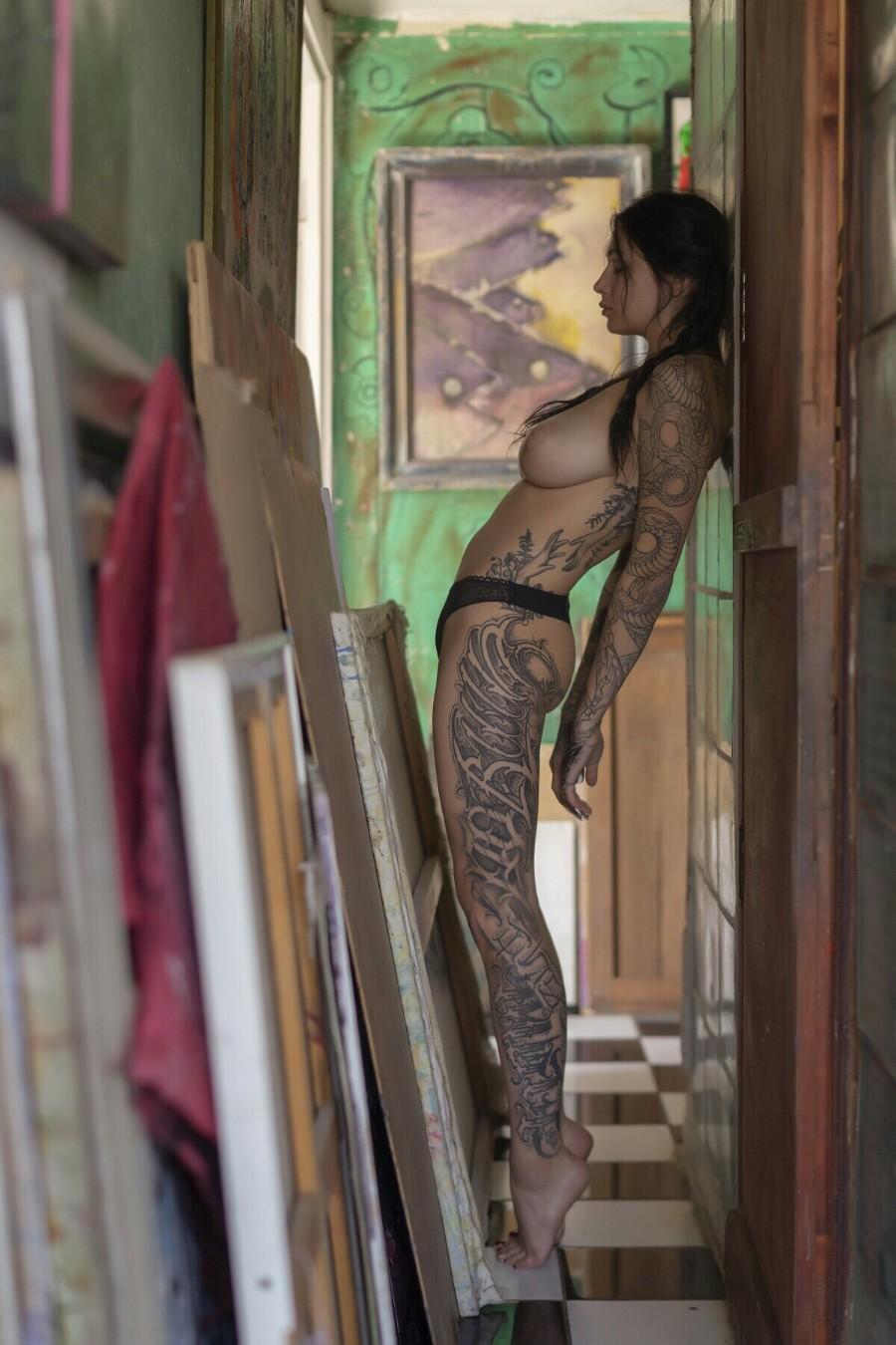 Busty Tattoo Babe Evgenia Talanina Topless Shoot 8 Photos -9573