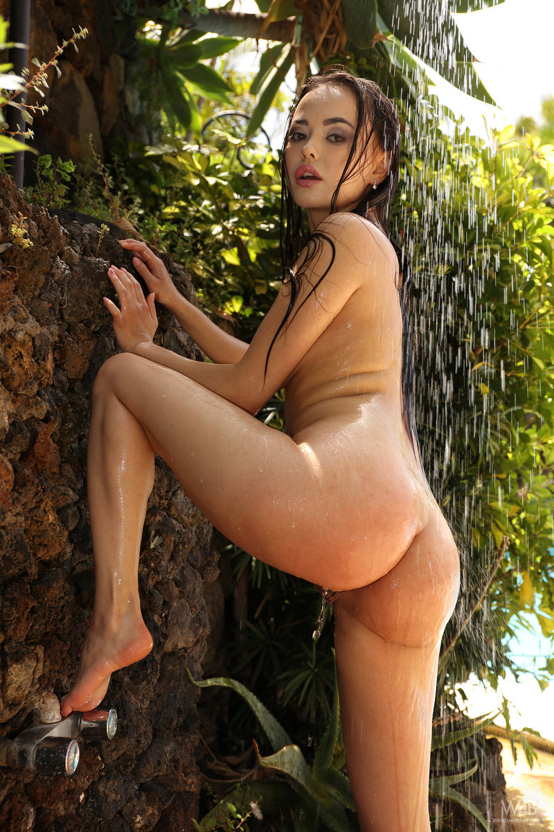 erotic model Li Moon nude and wet