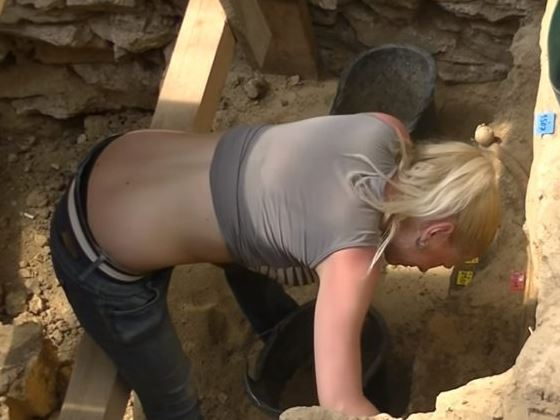 blonde sexy archaeologist with big boobs