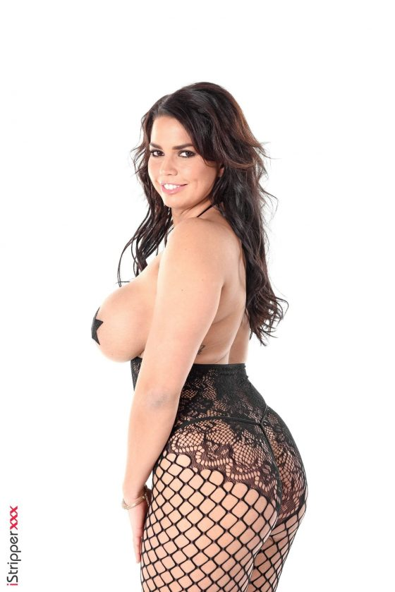 Busty model Chloe Lamoure topless fishnet shot 4
