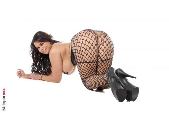 Busty model Chloe Lamoure topless fishnet shot 8