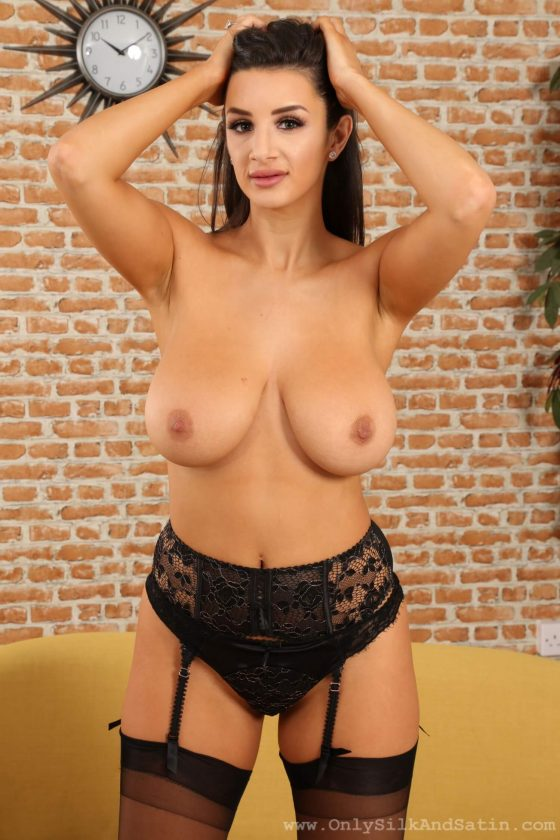 glamour model Cara Ruby topless stockings big tits pic 11
