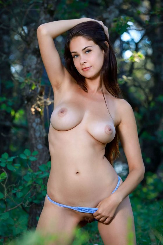 gorgeous girl Martina Mink naked  with big tits strips off 8