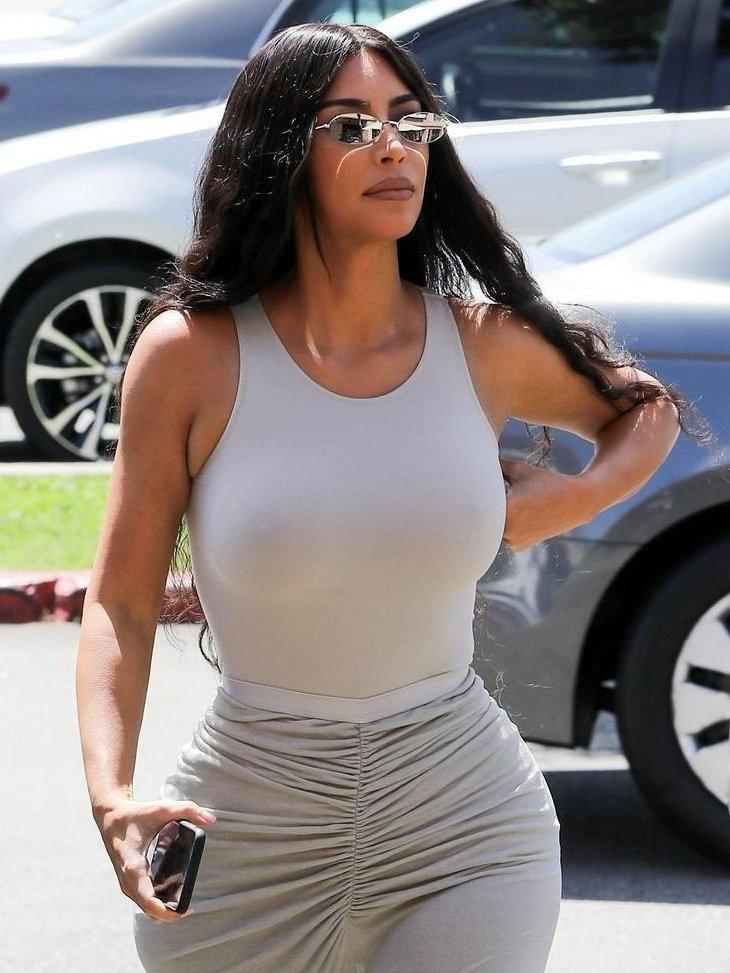 Kim Kardashian Braless outdoors