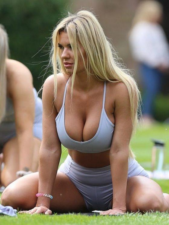 busty celebrity in sexy yoga class