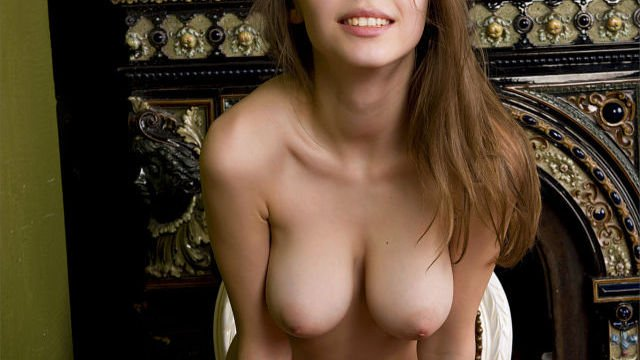 young brunette girl with nice boobs naked