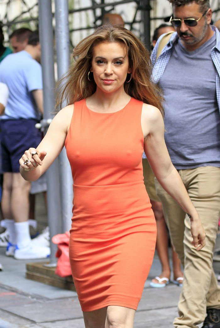 Alyssa Milano braless dress