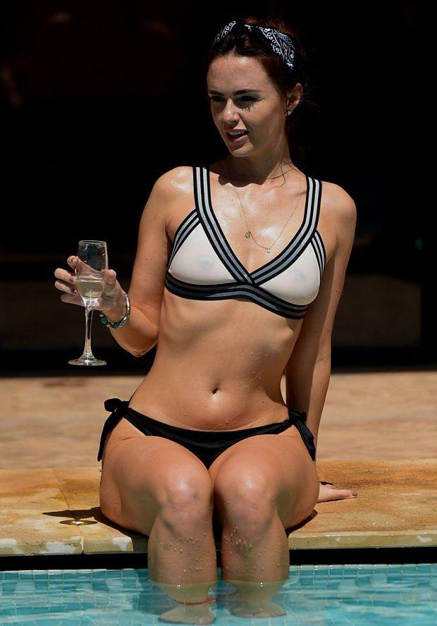 Jennifer Metcalfe Nipples Through her Wet Bikini Top