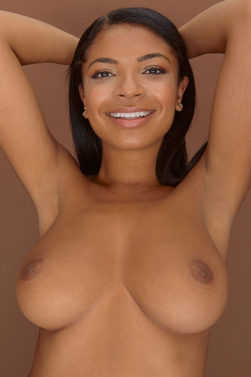 smiling babe Jess topless braless big boobs