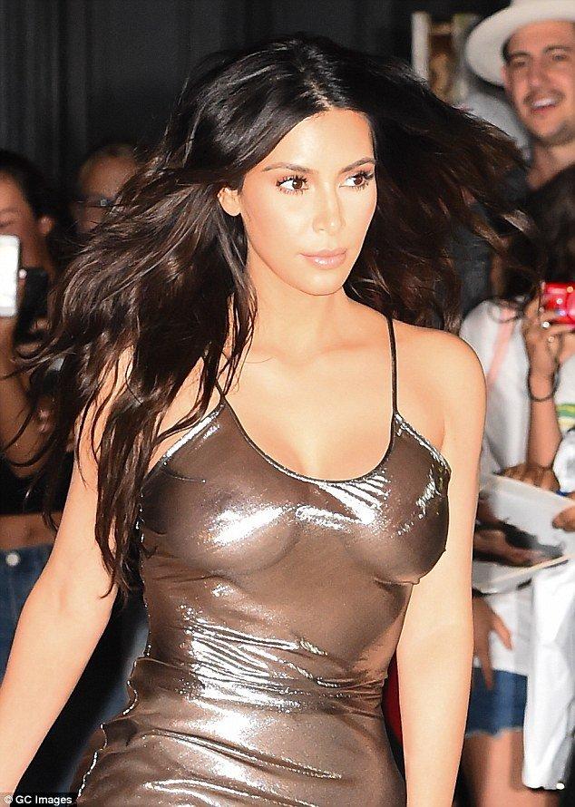 Kim Kardashian braless boobs in sheer dress