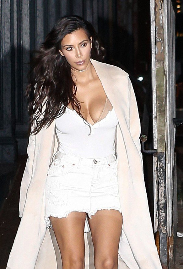 Kim Kardashian sexy mini dress and cleavage top