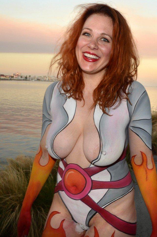 Nude body paint redhead princess