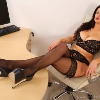 Cara Ruby: Sexy Lingerie in Office (12 photos)