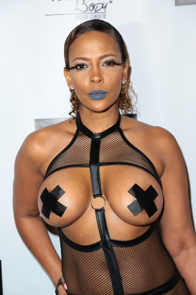 Sundy Carter wore a bondage style outfit that only had tape covering up her breasts