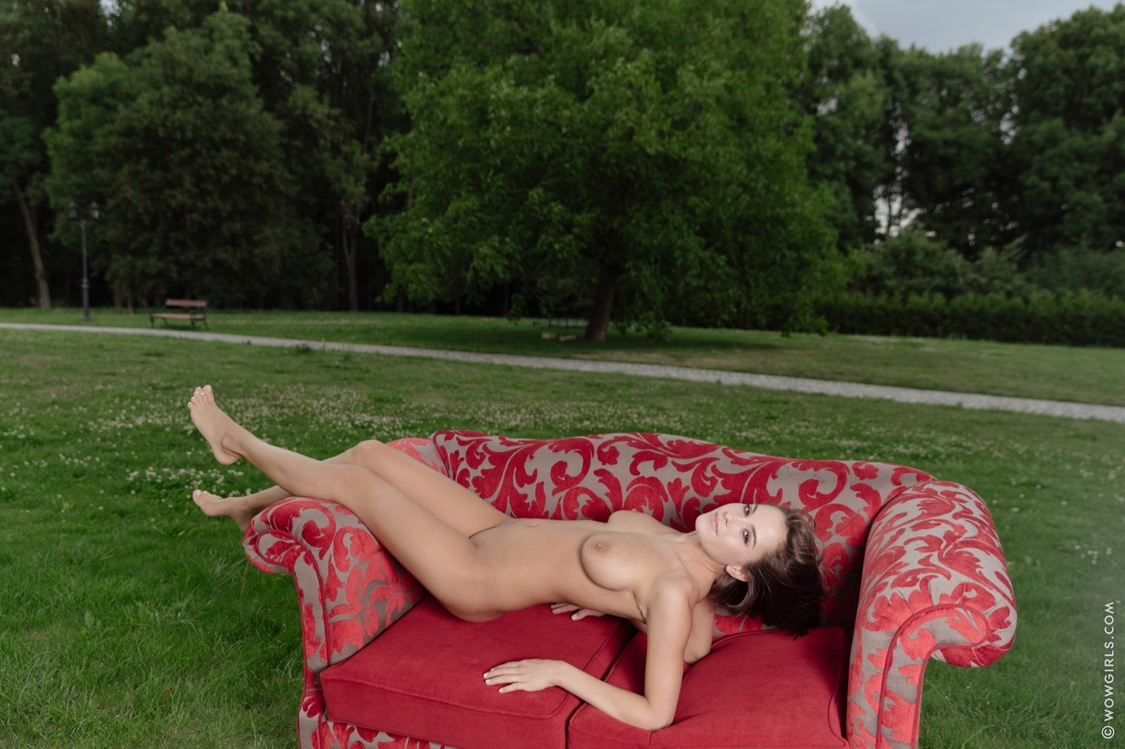 sexy girl braless dress hot legs