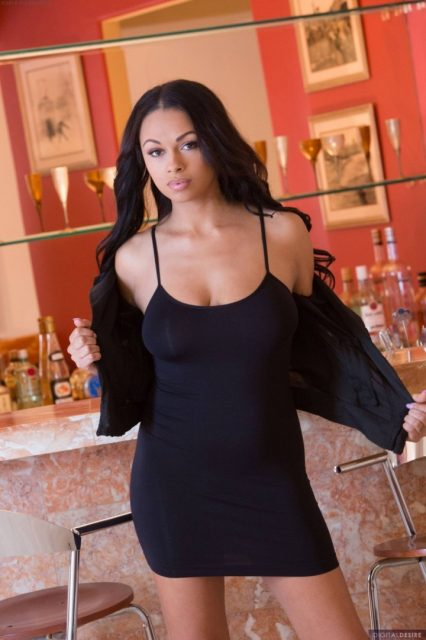 Bethany Benz braless in tight black  dress