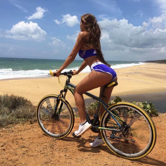 hot girl in bicycle