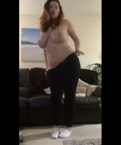 Busty Redhead Lucy V Topless Bouncing Her Boobs!
