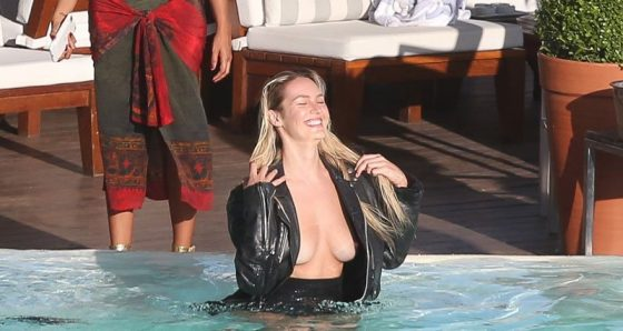 Candice Swanepoel nip-slip