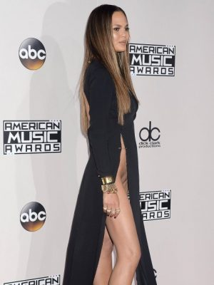 "Chrissy Teigen flashes her shaved pussy at the ""2016 American Music Awards"" in Los Angeles, 11/20/2016"