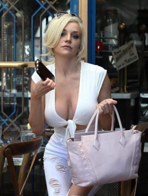 busty woman braless top