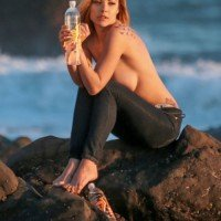 Nipple show! Elizabeth Marxs posing topless for a 138 Water shoot in Malibu