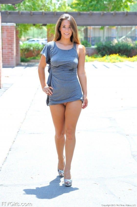 cute girl braless dress with no panties upskirt