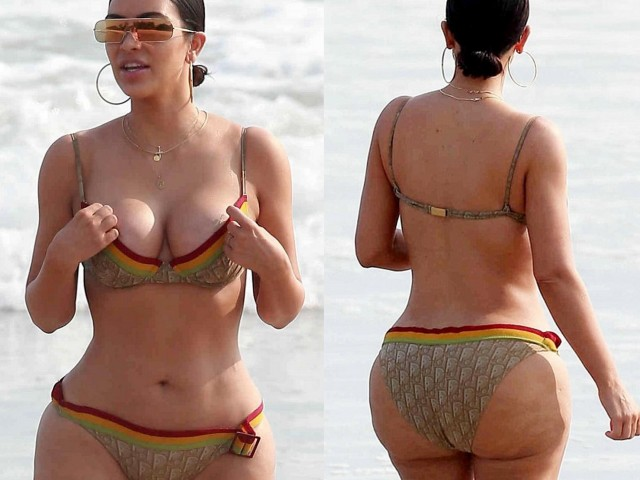 The body of Kim Kardashian without retouch in tiny bikini (14 photos)