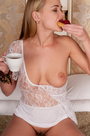 hot babe with boob out takes breakfast
