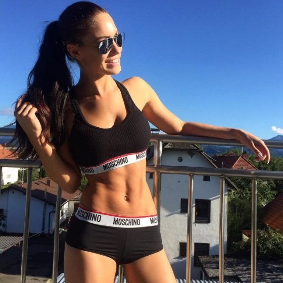 Stephanie Davis hot girl with sports bra