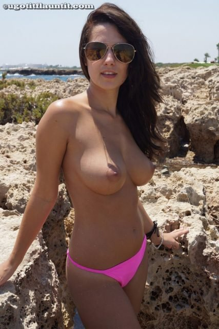 perky tits topless cute brunette